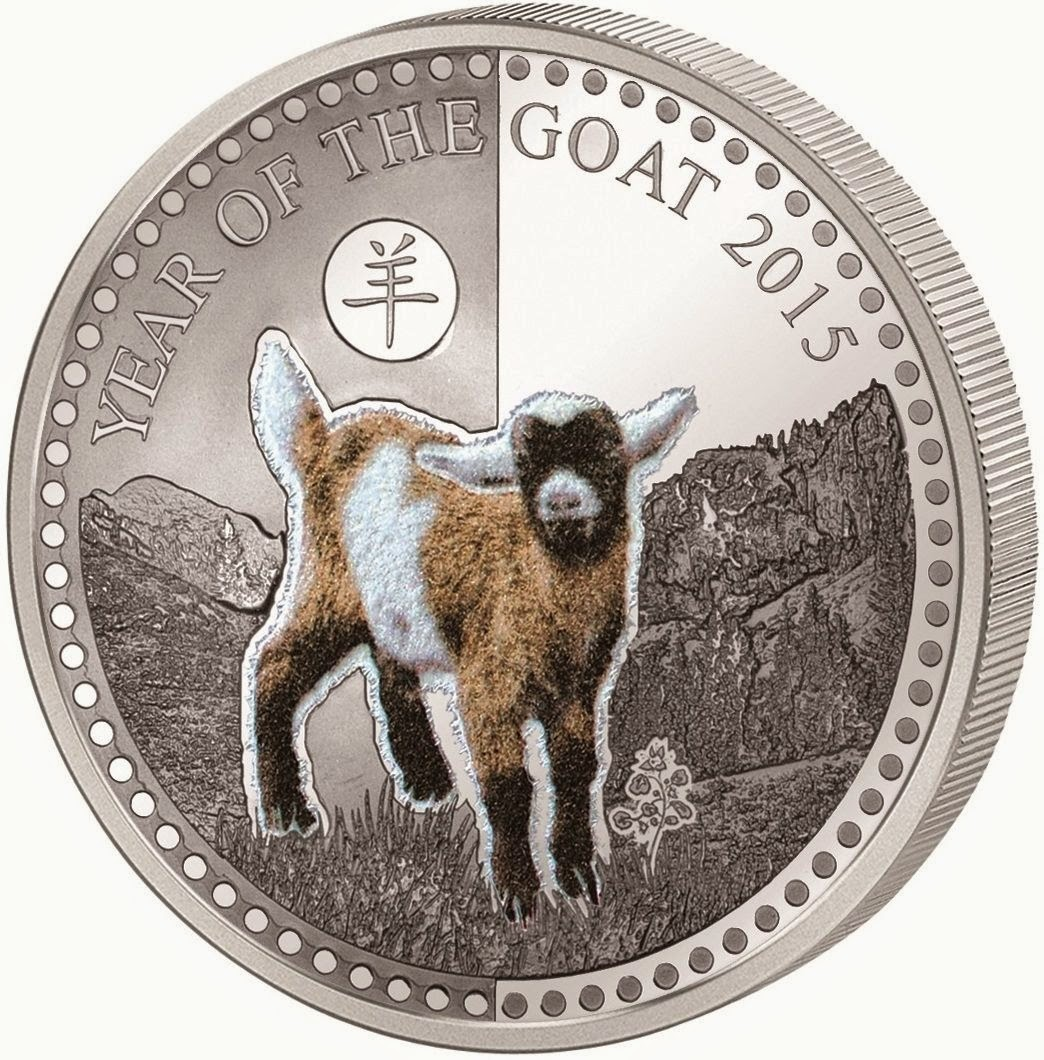China 2015 Greeting the New Chinese Lunar Year of Goat//Sheep 5 Grams of Silver