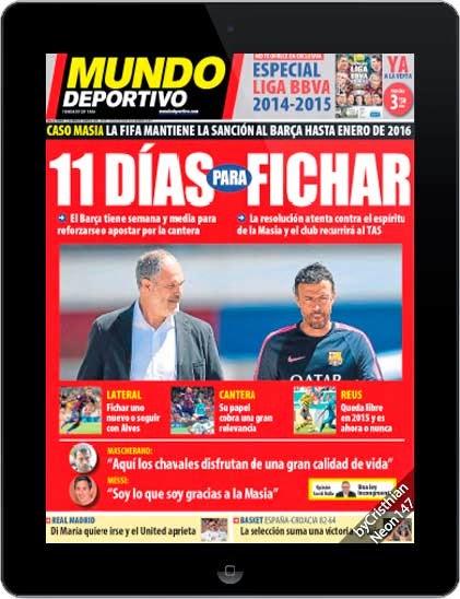 Diario Mundo Deportivo España (21 Agosto 2014) ESPAÑOL - 11 días para fichar, caso Masia la FIFA mantiene la sanción al Barça hasta Enero del 2016