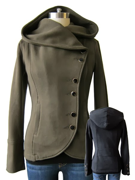 New stylish hooded jacket with  jeans and blouse