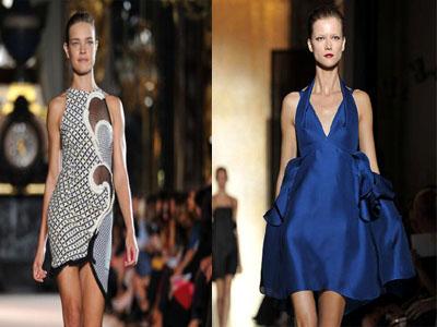 Shrinking Clothe of Stella McCartney and Organza Dress at Paris Fashion Week