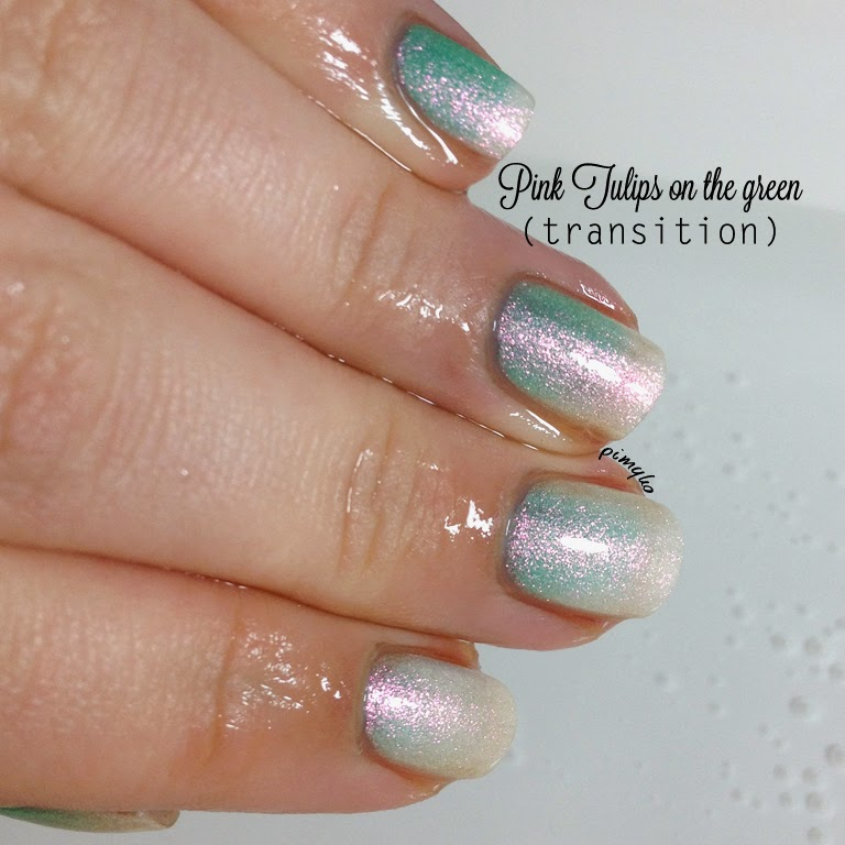 pimyko Spring 2014 collection (Pink tulips on the green) by Fun Lacquer