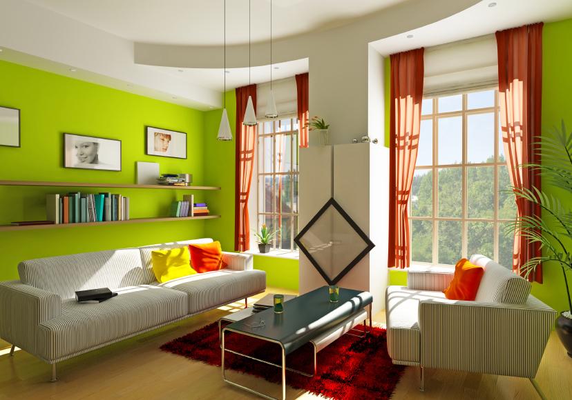 Sala De Estar En Color Verde ~ El verde oscuro tiende a reducir el tamaño de los objetos por eso es