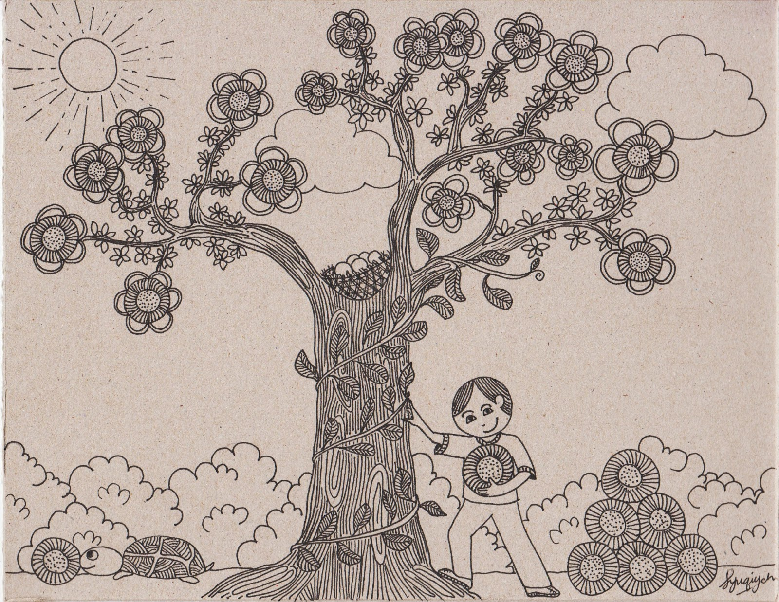 Drawing printout how to draw a bird nest - Bird Nest In Tree Drawing Photo 19