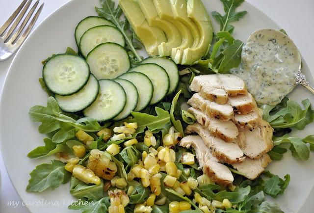 Green+on+green+salad+with+corn+014 - Garten Chicken Salad