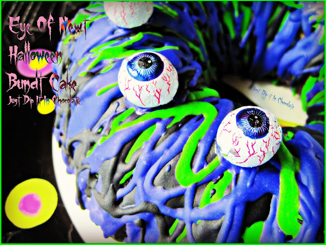 "Eye of Newt Halloween Bundt Cake Recipe, you don't have to be an expert decorator to bring all ""Eyes"" to this cake, it's tasty, it's colorful, it's spooky it's fun. Everything Halloween should be!"