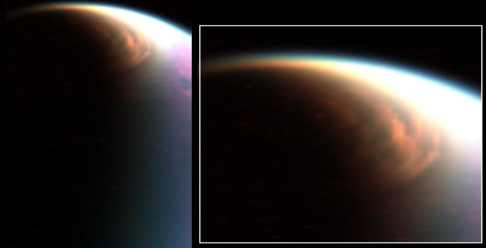 This cloud in the stratosphere over the north pole of Titan is similar to Earth's polar stratospheric clouds. NASA scientists have determined that Titan's cloud contains methane ice, which was not previously thought to form in that part of the atmosphere. Credit: NASA/JPL/University of Arizona/LPGNantes