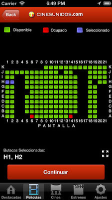 Selección de asientos en aplicación de Cines Unidos para iPhone