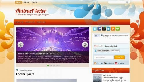abstract vector orange blogger template 2014 for blogger or blogspot
