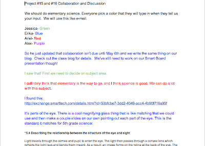 screenshot of my group's Google Doc collaboration