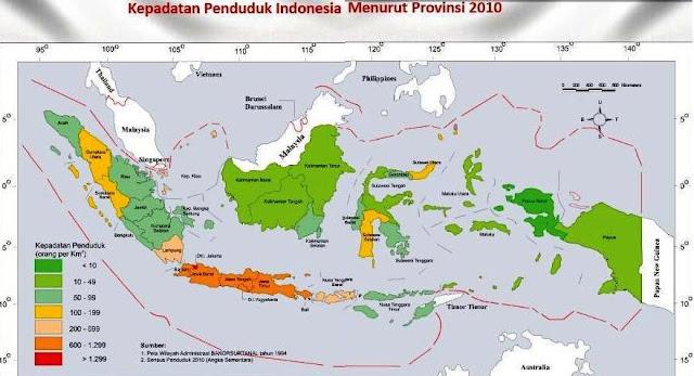 Peta Kepadatan Penduduk Indonesia tahun 2010