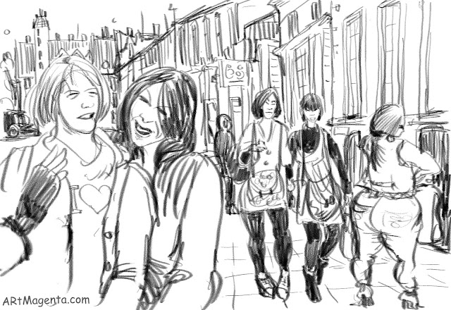 On the street just before opening hour is a sketch by artist and illustrator Artmagenta.