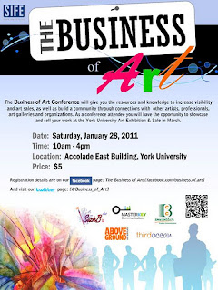 Business of Art Conference, Art Exhibition and Sale, January 28, 2012 @ York University, Poster