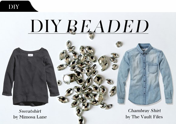 Diy file beaded chambray shirt sweatshirt the vault files for Cuisine you chambray