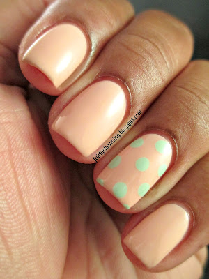 Sally Hansen, Petal Pusher, Mint Sorbet, pink, nude, mint, polka dot, accent nail, simple, work appropriate, classy, classic, nails, nail art, nail design, mani