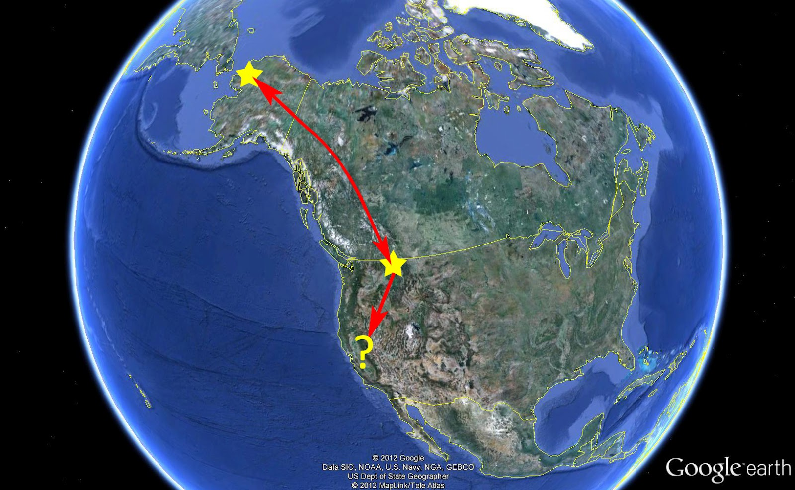 map showing breeding area and migration stopover point for one pair of banded tundra swans