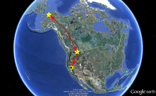 Map showing breeding area and migration stopover point for one pair of banded Tundra Swans (c) John Ashley