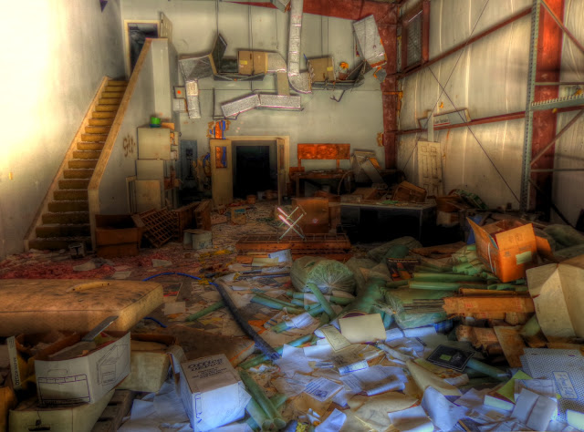Abandoned Winery - loading room in disarray