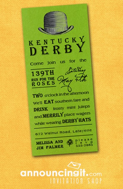 Shimmery Green Kentucky Derby Hat Party Invitations | DerbyMe.com