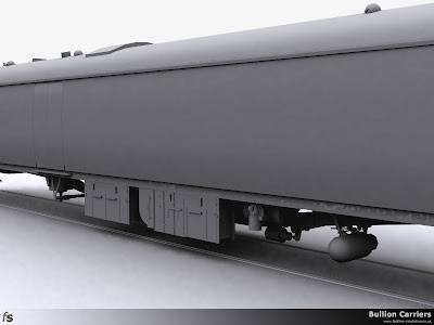 Fastline Simulation - Bullion Carriers: An in development render of the NWX Bullion Van for Train Simulator 2013. This underframe render shows (from left to right) vacuum cylinder, battery box, Stone's generator, distributor with air tank behind and air brake cylinder below with the dynamo nearest the viewer.