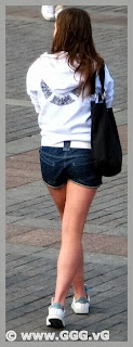 Girl wearing jean shorts