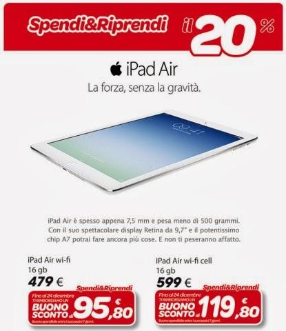 """Promozione """"spendi e riprendi"""" su Apple iPad Air con un bonus sconto del 20% fino al 24 dicembre 2013"""