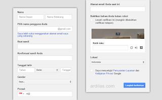 Form sign up - Gmail : Cara Mendaftar / Membuat Akun Email Baru