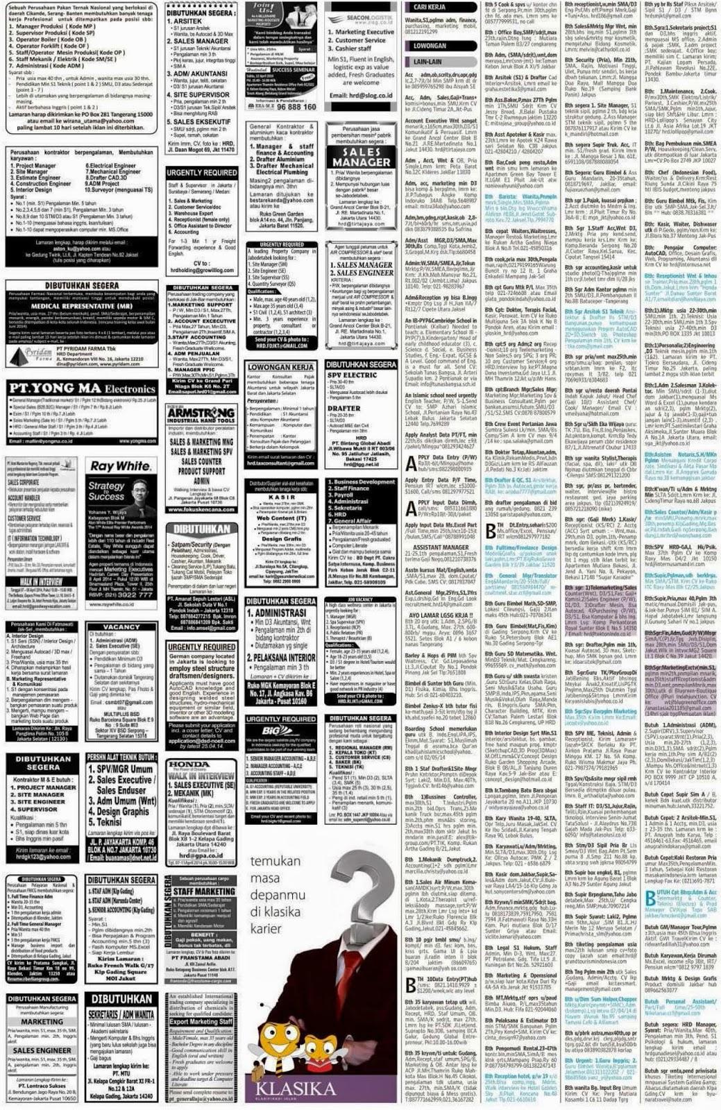 iklan loker koran  kompas sabtu  April 2014