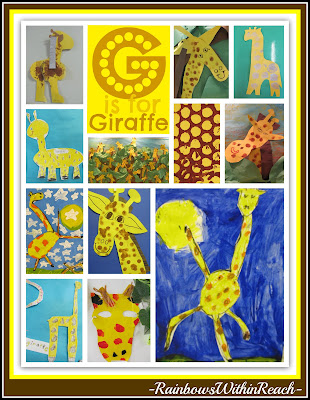photo of: G is for Giraffe, Art Projects from Preschool to 1st grade focused on Giraffe Theme