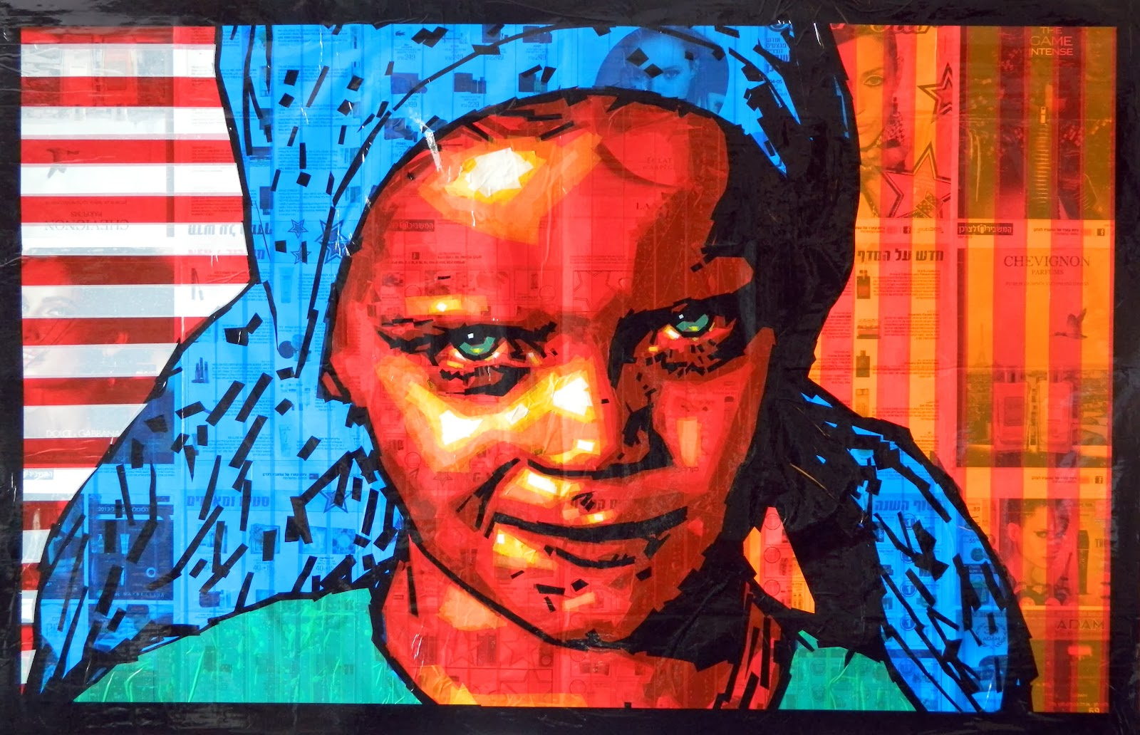 kid tape-art portrait face child girl tapeart streetart