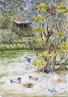 Wonderful Landscape Marsh land and birds,  Watercolor Painting on paper size 29.5 x 42 cm