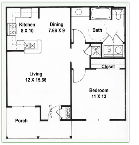 1 Bedroom 2 Bath Floor Plans