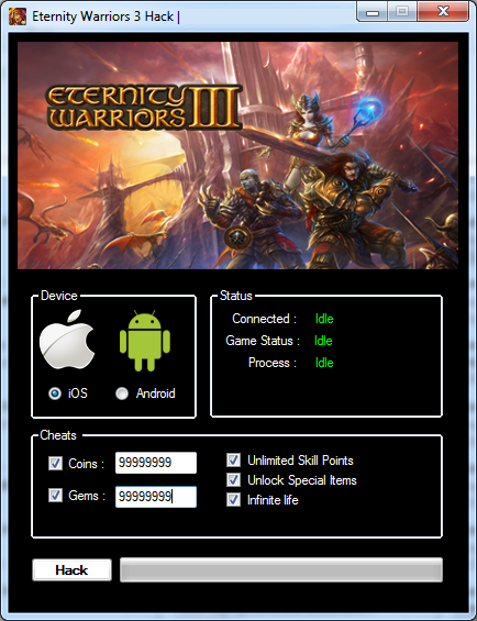 Eternity Warriors 3 hack tool is a program to add unlimited coins