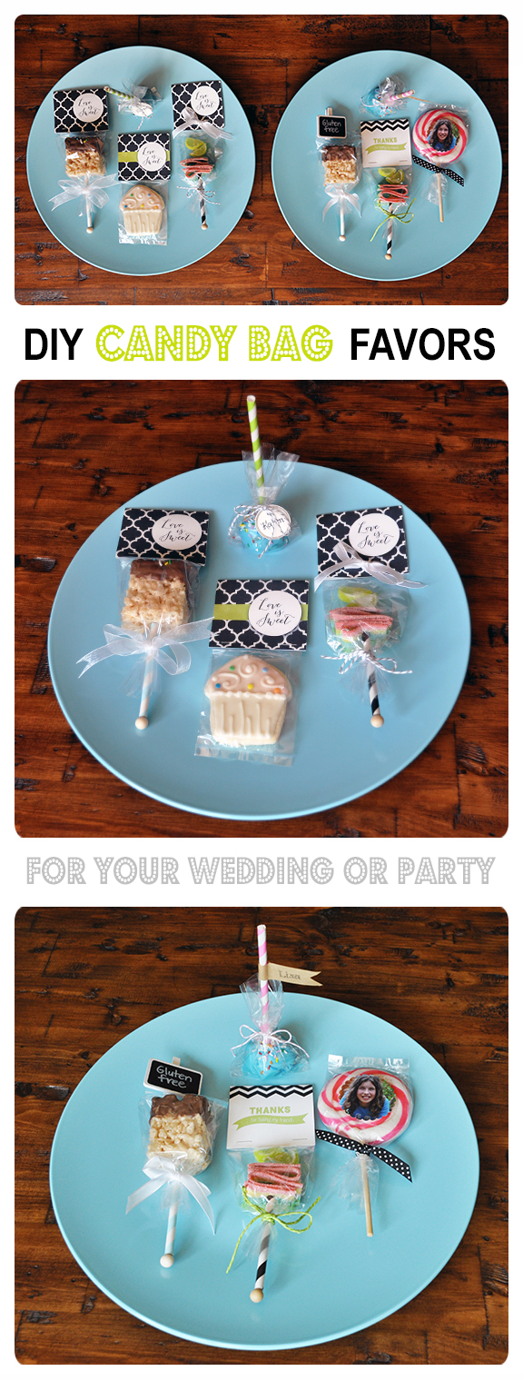 party favor using 8oz candy bags and free treat bag header by Lorrie Everitt for Creative Bag