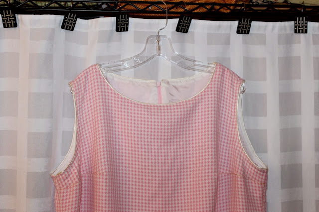 Wool-blend pink gingham dress made with fabric bought at Mood Fabrics NYC.