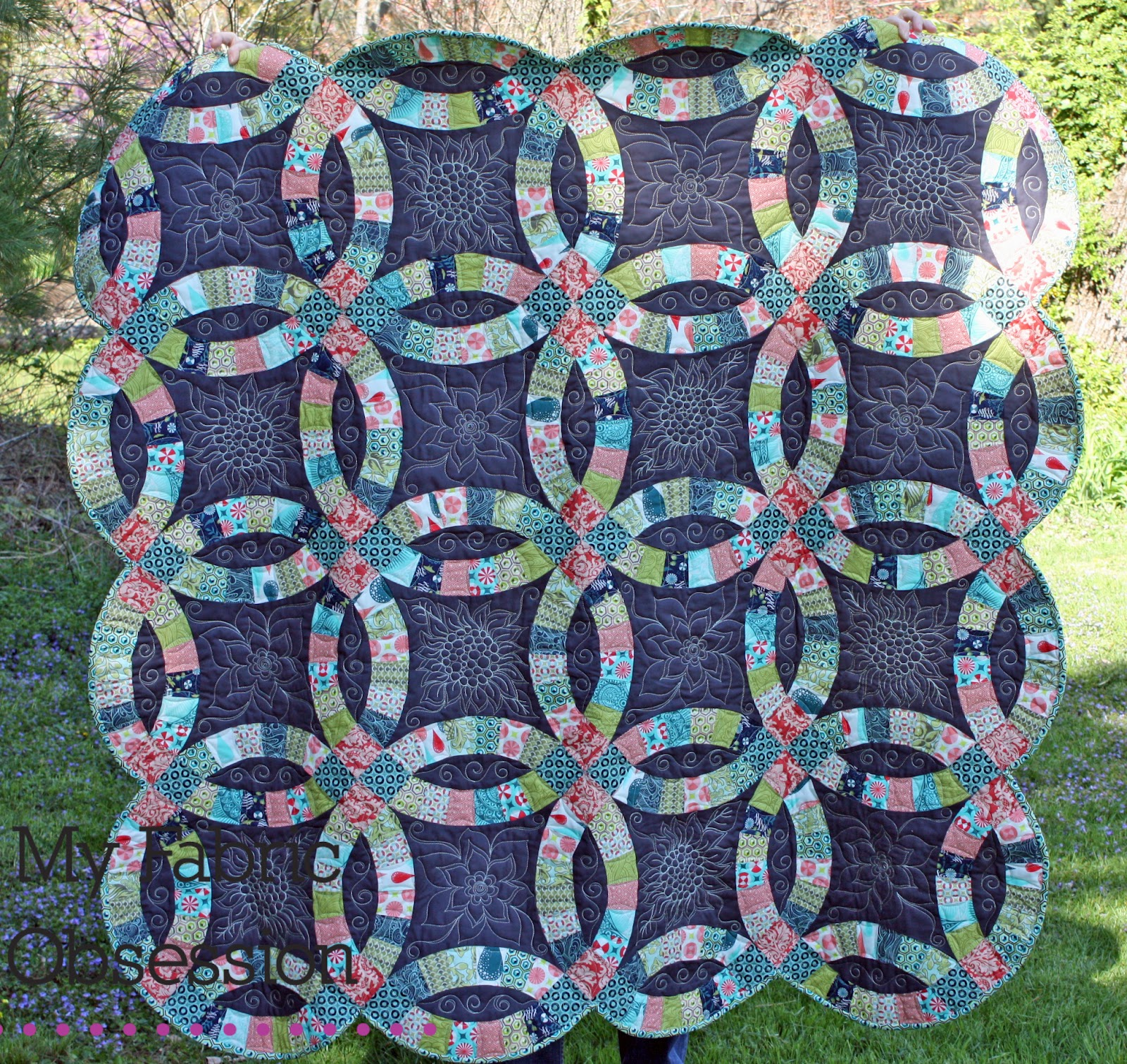 Wedding Ring Quilts: My Fabric Obsession: Double Wedding Ring Finished