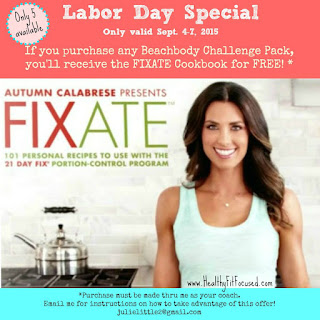 Free FIXATE Cookbook  - Labor Day Special!, www.HealthyFitFocused.com, Julie Little Fitness