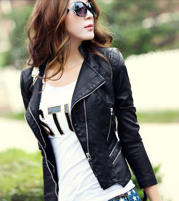 Images of Ladies Black Leather Jacket - Reikian