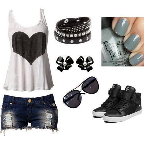 Heart shape t shirt, jeans shorts, snikers and sunglasses for ladies