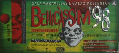 entrada del festival benicassim 1998