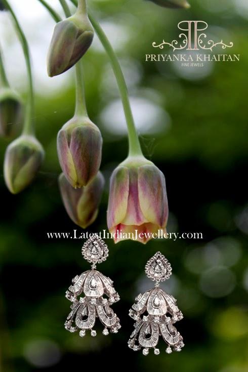 polki diamond designer jhumkis