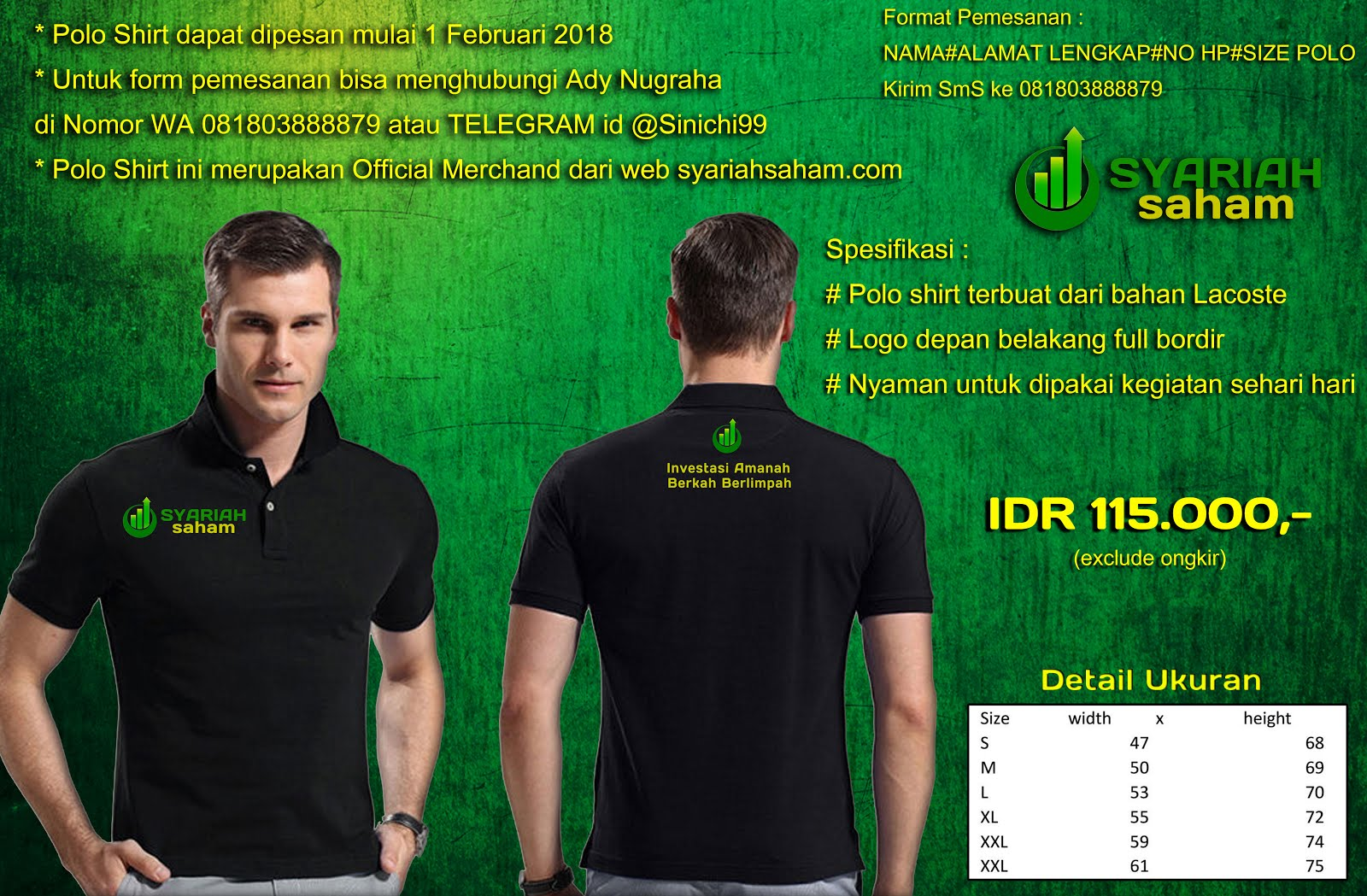 "Order Official Polo Shirt ""Syariah Saham"""