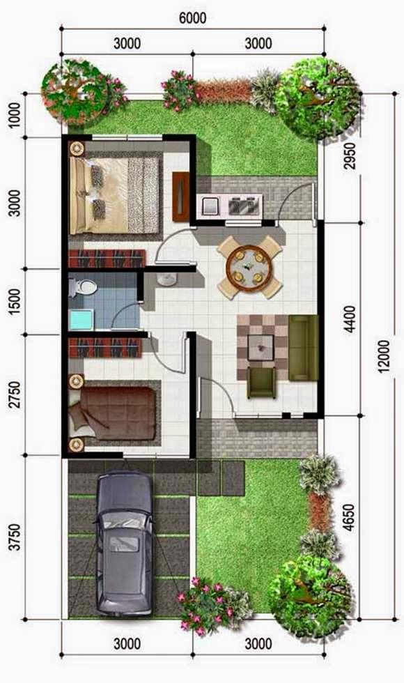 Gambar Denah Rumah Ukuran 6x12 1 Lantai Desain
