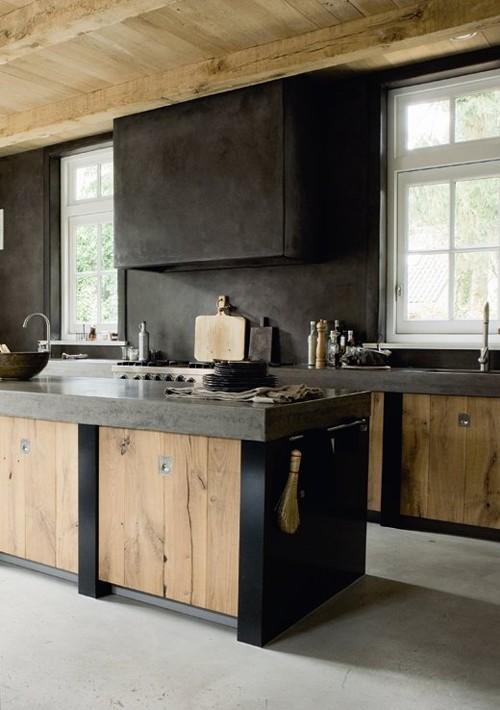 Diseño de cocinas : Madera y color Negro