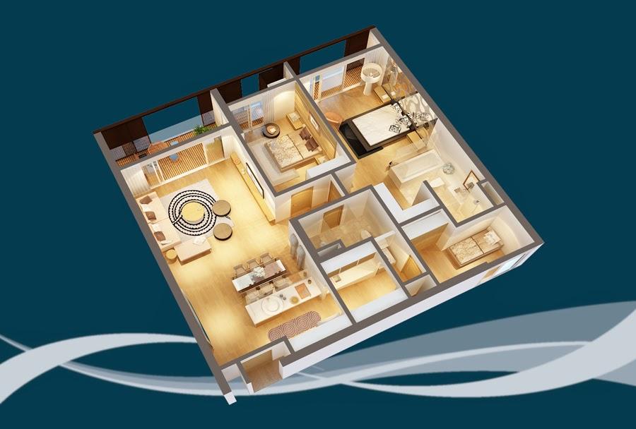 Thiết kế căn hộ CH5A - 156m2 Chung cư Dolphin Plaza