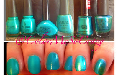 sinful colors rise shine. (L To R) Sinful Colors- Rise And Shine, China Glaze- Turned Up Turquoise,  Funky Fingers- Bizerk Turq, Sation- Oh My Oceana, Revlon- Ocean Breeze, Sinful Colors Rise Shine