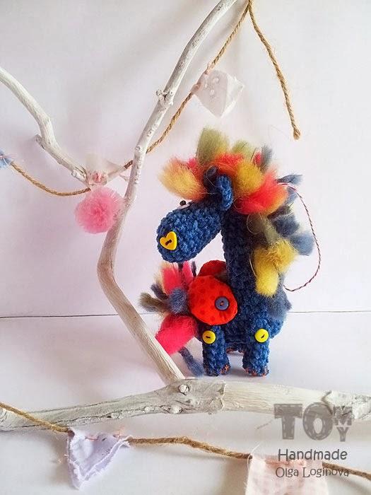 Blue crochet horse