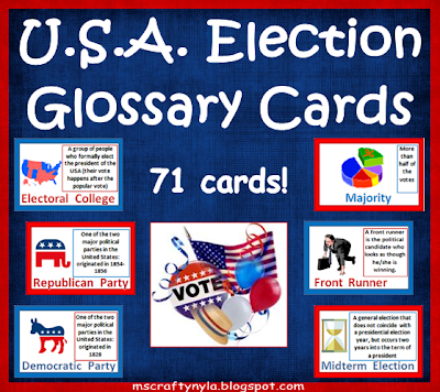 Voting, Elections, Glossary Cards, Ballot, Democrat, Republican, Dictionary Cards,
