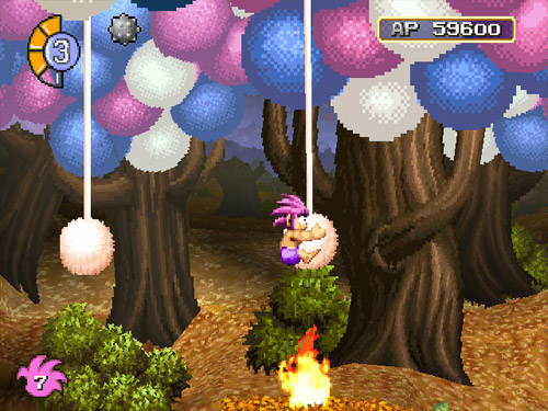 Tomba riding a hanging puff ball