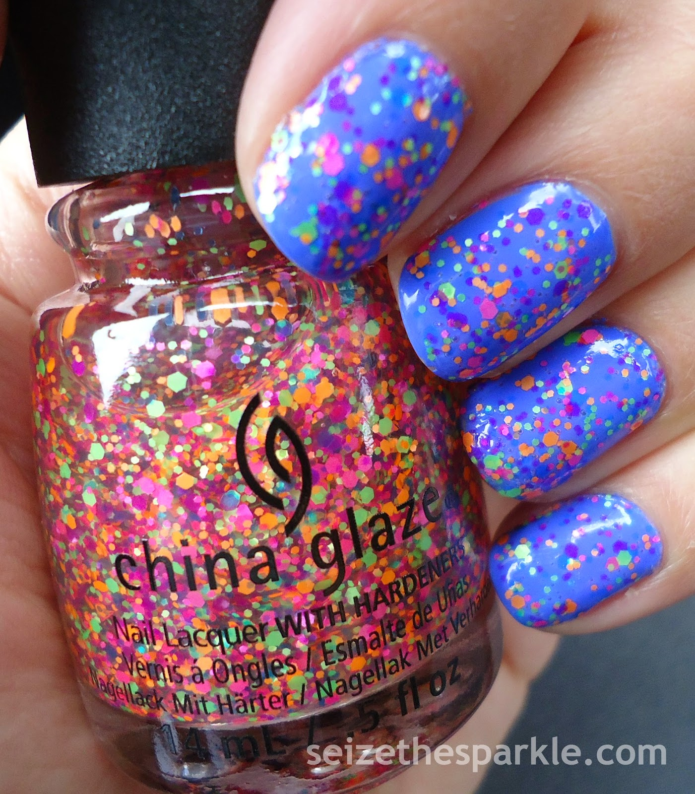 Neon Glitter Manicure