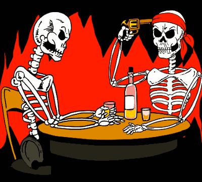 Skeletter spiller russisk roulette - 'hardcore ludomaner'